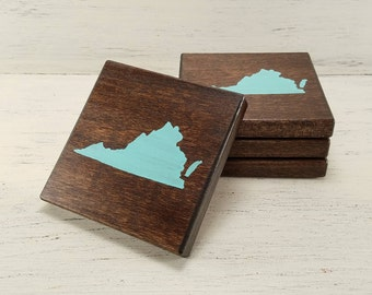 Pick State, Pick Color, Virginia Wood Coasters, Set of 4, Wedding Gift, Housewarming Gift