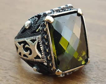925K Sterling Silver Mens Ring With Green Quartz Stone