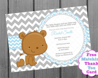 Blue and Grey Chevron Teddy Bear Boy Baby Shower Invitation and FREE Thank You Card Printable DIY