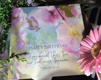 Christian birthday etsy 2 x birthday greetings card christian verse kjv watercolour watercolor flower butterfly painting lady woman pink m4hsunfo