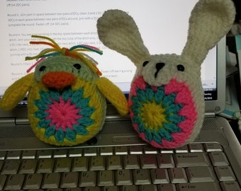 Lovely Crocheted Easter Bunny and Friends -Hand Made- Free shipping!!