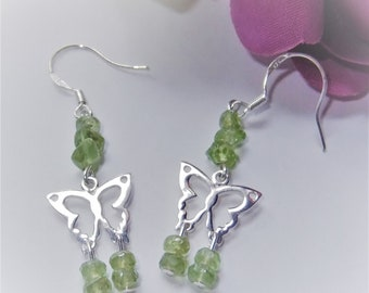Dainty Green Peridot Butterfly Spirit Animal Totem Healing Gemstone Earrings, Sterling Silver
