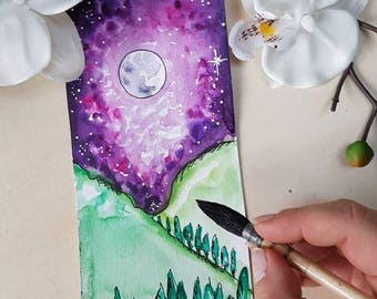 Watercolor and ink: Purple Moon