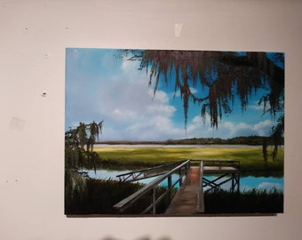Beautiful original oil on canvas of a dock on the Marsh with a live oak tree and Spanish moss overhanging above!