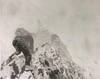 Crib Goch original etching, Welsh mountain art print, misty moody landscape art - scrambles snowdonia
