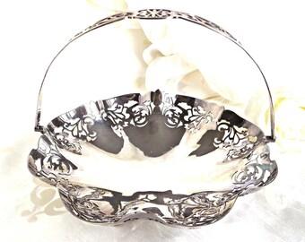 Silver Plated Basket Bowl, Wedding Decor, French Farmhouse, Silver Bowl, Vintage Decor, Cottage Chic, Shabby Chic Decor
