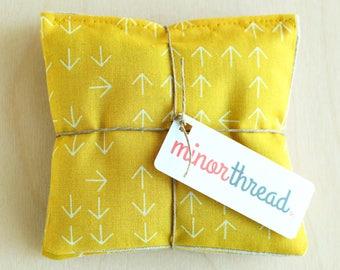 Organic Lavender Sachet Set in Mustard Yellow Arrows & Linen Handmade Hostess Gift - 2 Sachets  Natural Home Organic Gifts Mother's Day Gift