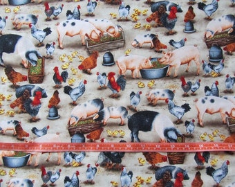 Beige Pig and Chicken Cotton Fabric by the Yard