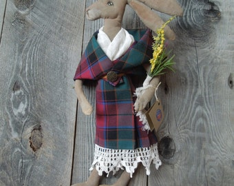 Scottish Hare Girl wearing Arisad Primitive Soft Sculpture Folk Doll