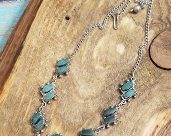CLEARANCE Green gemstone necklace Moss agate gemstone sterling silver link chain agate necklace OB1968