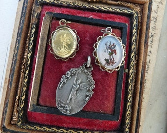 Rare Antique French Saint Michael Reliquaries & Medallion, offered by RusticGypsyCreations