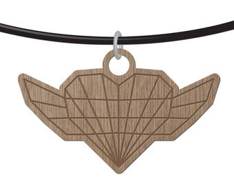 HEART - ORIGAMI - laser cut wood - necklace