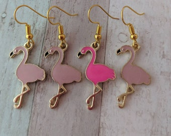 Flamingo earrings, mismatched earrings, bird earrings, hawaiian earrings, tropical earrings, summer earrings, asymmetrical earrings,