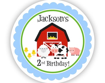 Farm Stickers - Cute Red Barn, Cow, Pig, Sheep and Baby Chicks Farm Animals Personalized Birthday Party Stickers - Farm Birthday Favor Label