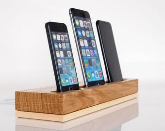 PRE-ORDER iPhone triple docking station, handmade quality, iPhone 5, iPhone 6, iPhone 7 dock, iPhone 8 dock, iPhone X charging station