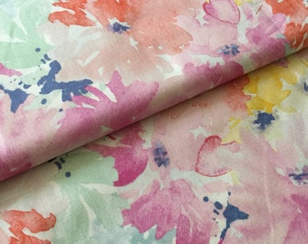 Watercolor floral fabric, watercolor fabric, blue fabric, Floral fabric, watercolor flowers, floral quilting cotton, floral nursery, floral