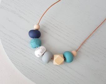 Blue polymer clay necklace, Blue white and navy clay beaded necklace, polymer clay jewellery, gift for her, blue necklace, beaded necklace,