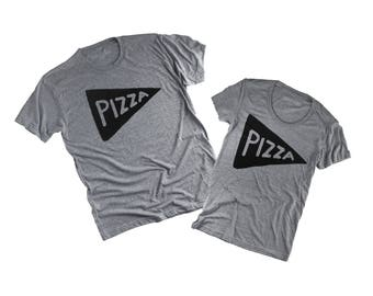 Matching Couples Tees Shirts Pizza Shirts Father's Day gift ideas for him her from wife husband mr mrs funny party pizza slice tshirts
