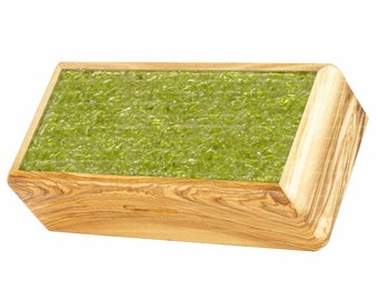 Olive Wood Jewelry Box 17.5 cm with Natural Green Peridot Crystals Cover