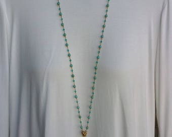 Long blue turquoise and gold rosary style tassel necklace.Free shipping.