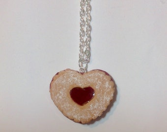Linzer Tart Heart Cookie Charm Necklace -Polymer Clay Sweets - Cute Food Pendant - Dessert Jewelry