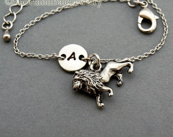 Lion charm bracelet, antique silver, initial bracelet, friendship, mothers, adjustable, monogram