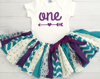 Teal, Purple, Gold, Arrow First Birthday Outfit, Arrow Bodysuit, Fabric Tutu/Baby Girl