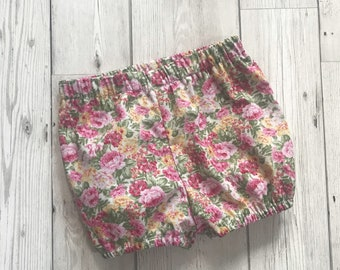 Pink Baby Bloomers - Floral Baby Shorts - Baby Girls Bloomers - Toddler Bloomers - New Baby Outfit - Floral Bloomers - Patterned Bloomers