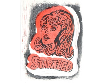 Startled Linocut Print, Horror Lino Print, Retro Illustration, Vintage Inspired Print, Handmade Linocut Print