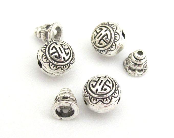 3 sets -  Guru bead set - Light weight tibetan silver  3 hole Guru bead 10 mm size and column bead set - GB006