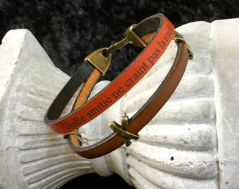 Mixed Brown and orange leather bracelet