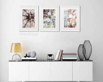 Boho copper decor/fine art Paris photography/Galeries Lafayette Ceiling/stained glass paris/Set of 3 prints/large wall art/Bathroom decor