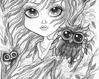Adult Coloring Page - Grayscale Page - Printable Coloring Page - Digital Download - Fantasy - Red Haired Girl with Owlsby Leslie Mehl Art