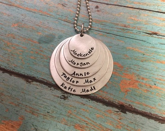 Mom of Five Necklace Hand Stamped Personalized  5 Layers Family Necklace, Mothers Necklace, Grandmothers Necklace-Mothers Day