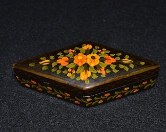 Hand Painted Lacquer Box,  Diamond Shaped Black Lacquer Trinket Box, Diamond Box with Hand Painted Flowers, Scalloped Lid Black Trinket Box