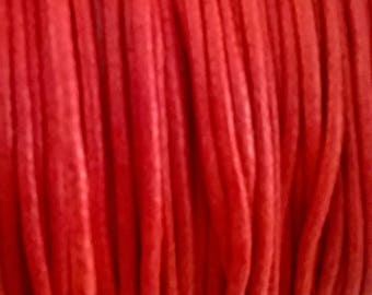 coated 1 meter of cotton cord 2 mm tomato red