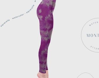 High waisted yoga leggings, Violet leggings, dance wear, aerial yoga clothes, printed tights, aerial leggings, hand painted hoop leggings,