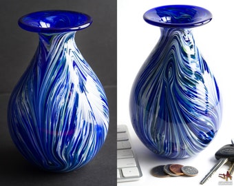 Hand Blown Glass Vase with Blue and White Swirls