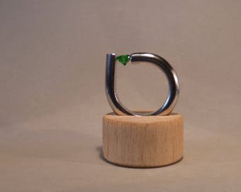 Designer ring stainless steel with cubic zirconia emerald