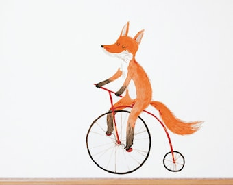 Fox on a Bike Removable Wall Decal & Sticker