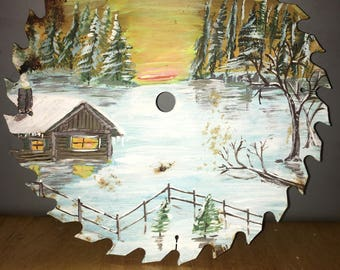 Hand Painted Saw Blade, Winter Cabin View, Painting,
