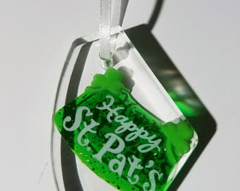 Resin necklace Happy St. Patrick's Day green irish claddagh clover fun unique
