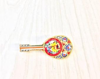 Vintage Millefiori Brooch   Gold Tone Brooch   Made In Italy   Millefiori Jewelry   Vintage Jewelry   Guitar Brooch   Pin   Red   Blue