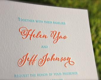 Turquoise and Orange Letterpress Wedding Invitations DEPOSIT  Coral