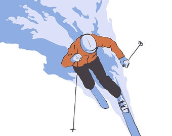 Skier Stylized - Big Sky, Montana (Art Prints available in multiple sizes)