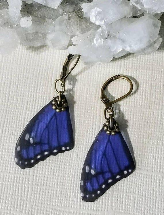 Purple Single Butterfly Wing Earrings