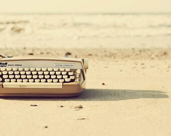 Beach Photography, Beach Photo, Typewriter Photo, Typewriter Photography, Beach, Typewriter, Whimsical Photography, Fine Art Photograph