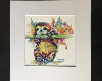 Sloth Print Matted or Print Only