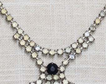 Black and Clear Rhinestone Vintage Necklace Bib Crystal & Silver Costume Jewelry 7AA 13