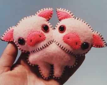 Felt Two-Headed Pig - Pocket Plush toy